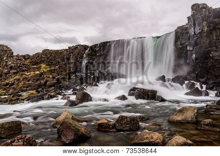 Oxararfoss Waterfall In Pingvellir National Park In Iceland