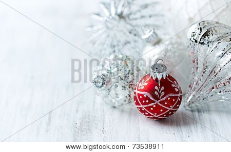 White and red Christmas balls; close up