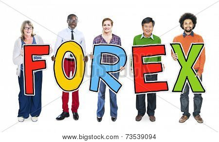 Group of People Standing Holding Forex Letter