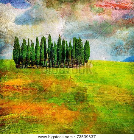 landscapes of Tuscany , artwork in painting style