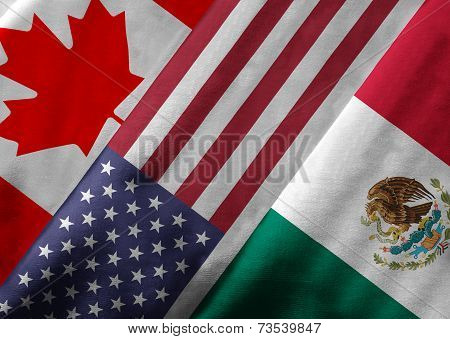 3D Rendering Of North American Free Trade Agreement Nafta Member Flags