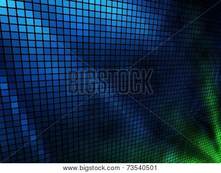 Abstract  blue and green lights 3D mosaic horizontal background.