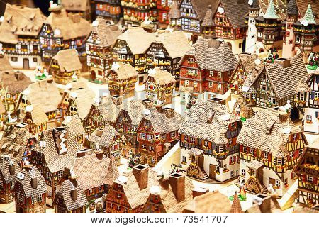 Traditional alsatian houses on the Christmas market