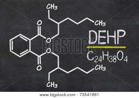Blackboard with the chemical formula of DEHP