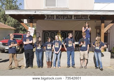 West Point, CA October 4, 2014: Lumberjack day, a typical slice of Americana, contestants in the King & Queen of the parade competition an event in this small American Sierra foothills community