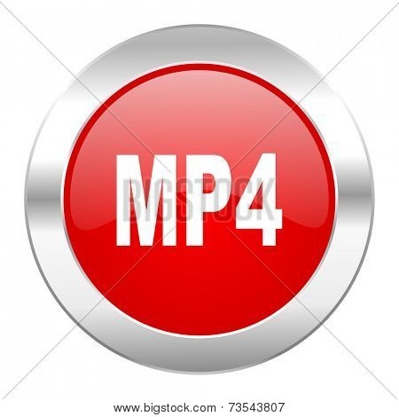 mp4 red circle chrome web icon isolated