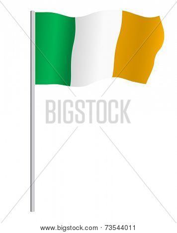 Irish flag on pole, vector