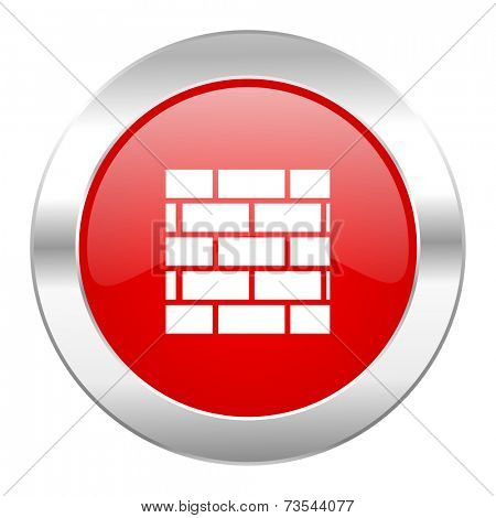 firewall red circle chrome web icon isolated