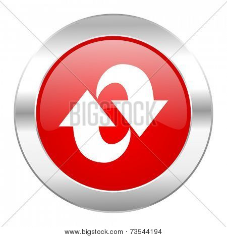 rotation red circle chrome web icon isolated