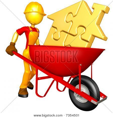 Gold Guy With Gold Puzzle Home In Wheelbarrow