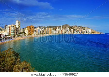 aerial view of Levante Beach in Benidorm, Spain