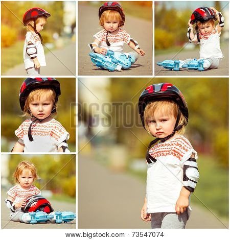 two year old pretty girl in roller skates and a helmet on the street. collage of photos