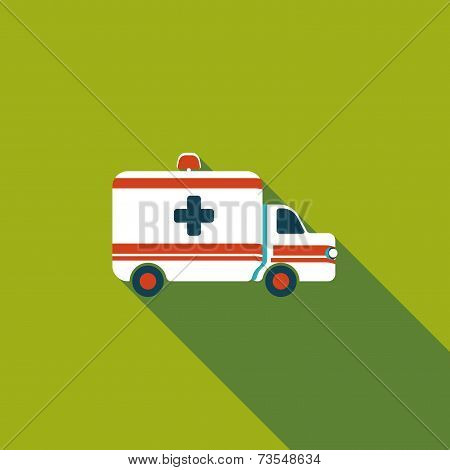 Ambulance Car Flat Icon With Long Shadow
