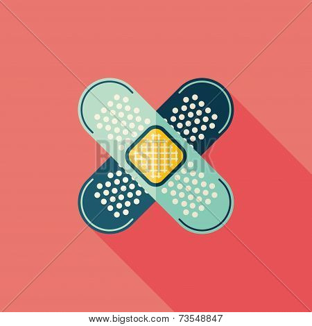 Medical Bandage Flat Icon With Long Shadow