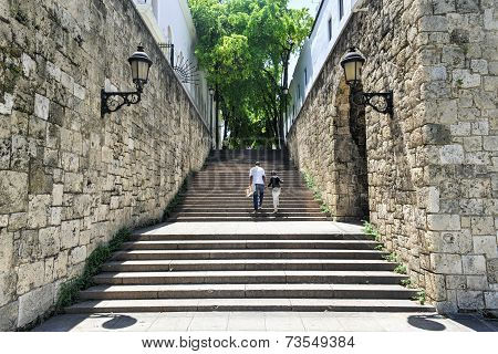 Steps Of El Conde Street, Santo Domingo, Dominican Republic