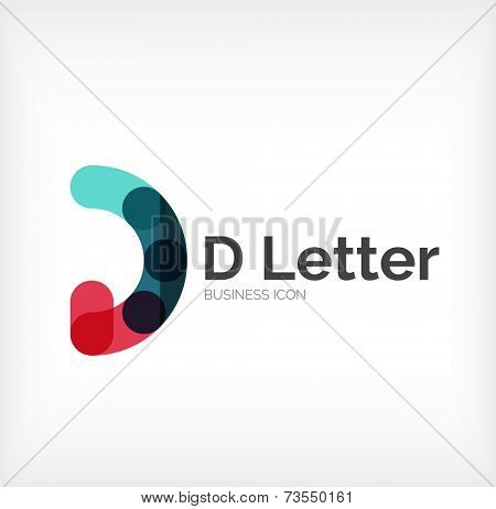 D letter logo, minimal line design, business icon