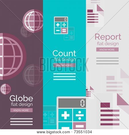 Set of flat design universal business concepts, banners with promo text - globe, count and calculating, report