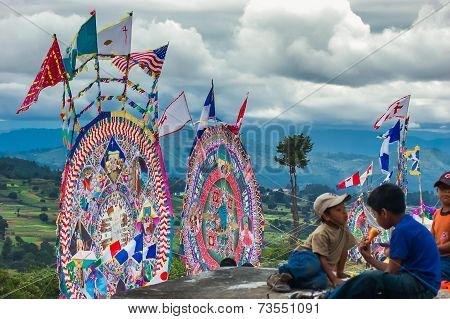 Giant Kites In Cemetery, All Saints' Day, Guatemala