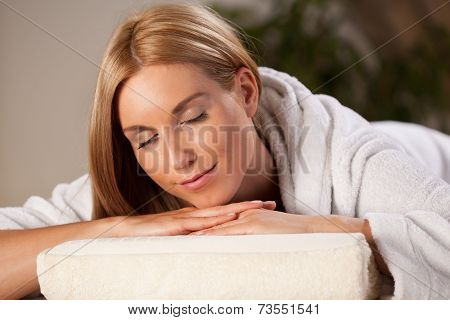 Woman In Dressing Gown In Spa