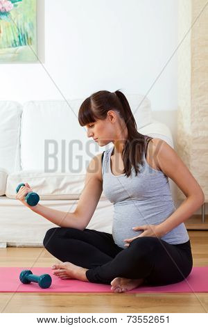 Pregnant Woman During Training