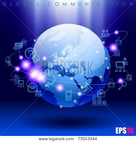 Vector image of globe and web icons on bright blue background. World digital communication and technology network