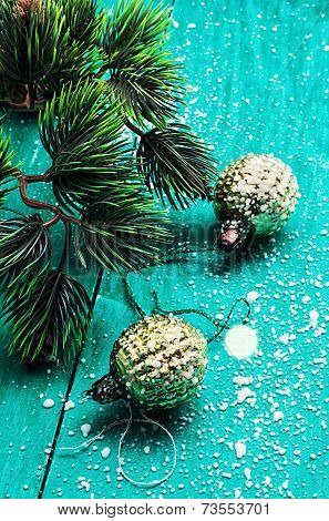 spruce and Christmas decoration
