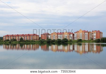 Multi-family brick houses by the lake