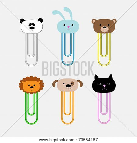 Paperclips With Animal Head Set. Panda, Rabit, Dog, Cat, Lion, Bear. Flat Design.