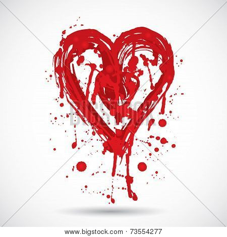 Grunge Background With Bright Red Heart. Paint Splash. Vector