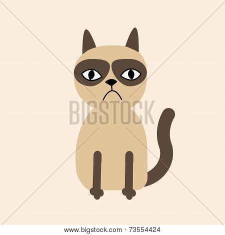 Cute Sad Grumpy Siamese Cat In Flat Design Style.