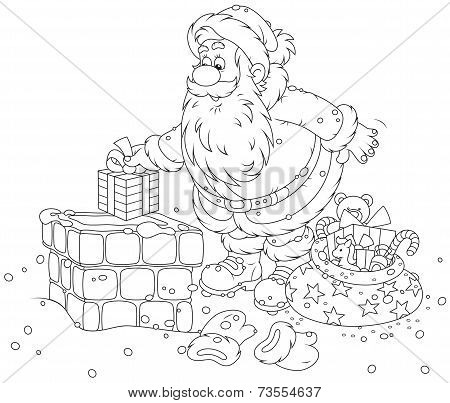 Santa Claus on a housetop