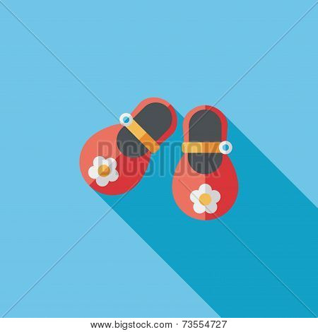 Baby Booties Flat Icon With Long Shadow