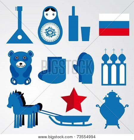 Travel Set Of Various Stylized Russian Icons Black, Blue, Red Illustration