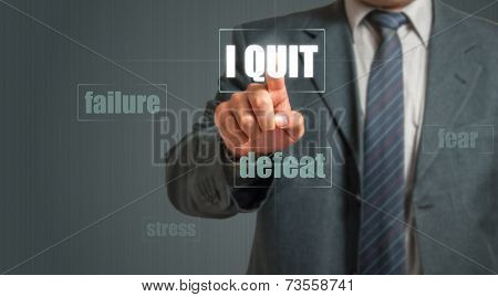Business man showing card with text - I quit