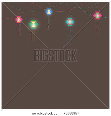 Greeting card template with traditional Diwali lanterns. Vector illustration.