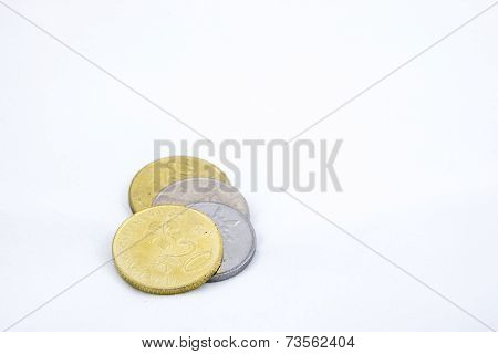 Some Ringgit Coins On White Background