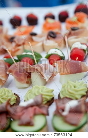 Close Up Appetizing Fresh Fish Meat Finger Food