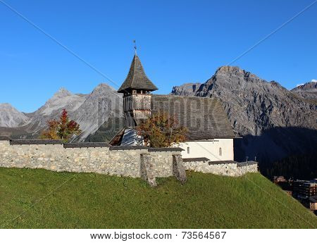 Old Church And Mountains
