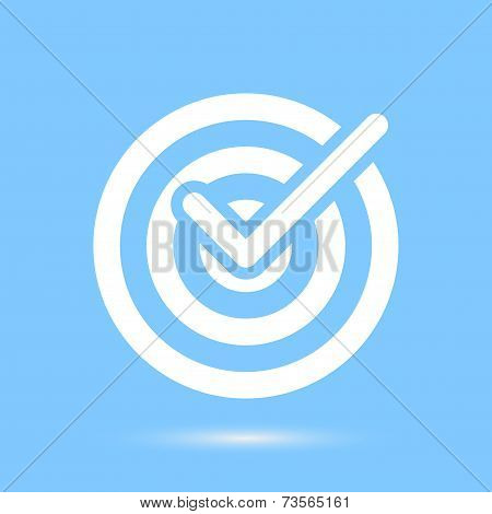 Checkmark White Symbol Over Blue Background