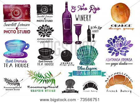 Watercolor Labels - Set of watercolor and ink advertising signs with clip art objects, including wine bottle and glass, photo camera, orange, seashell, lotus flower, tea cup and croissant