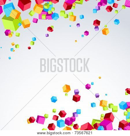 Colorful Bright Cube Exploded Particle Background