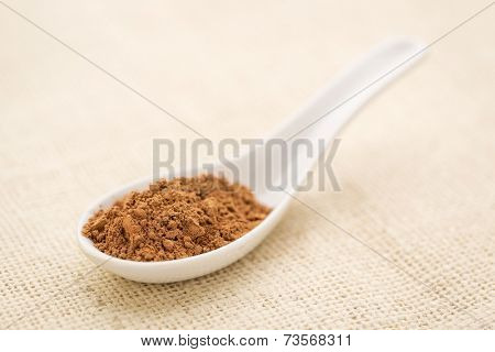 organic cacao powder on a white Chinese spoon against burlap canvas