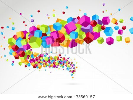 Bright Colorful Cube 3D Swoosh Background