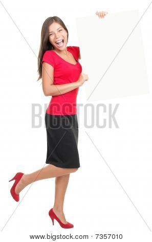 Beautiful Businesswoman Showing Empty White Board