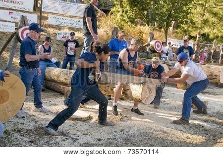 West Point, CA October 4, 2014: Lumberjack day, a typical slice of Americana in this small American Sierra foothills community.