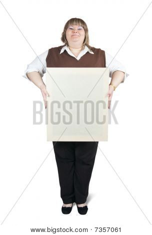 Large Girl Holds Blank Canvas
