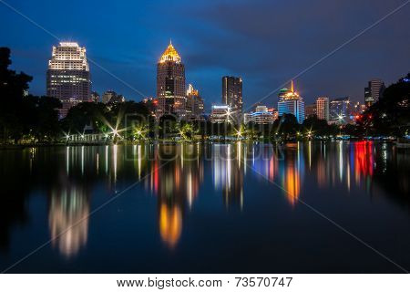 Night Scene Of Bangkok At Night From Lumpini Park