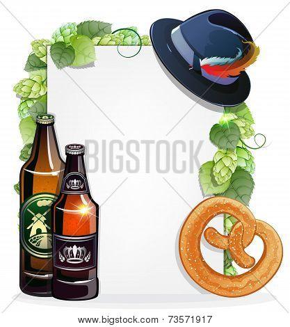 Beer Bottles, Pretzel, And Oktoberfest Hat