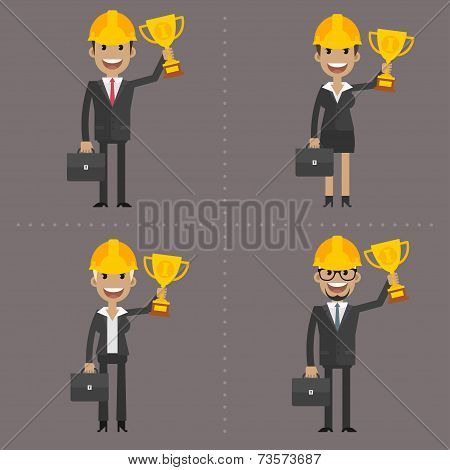 Man and woman engineer holding cup