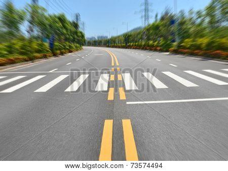 Urban roads and pedestrian zebra crossing